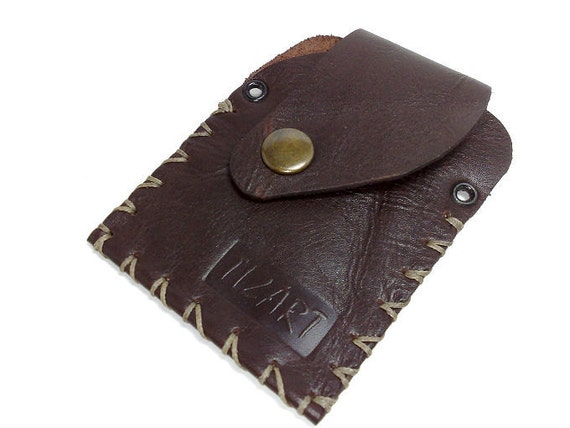 Handmade brown genuine leather/ hand stitched/ Wallet / card holder/ purse /case ooak holds 10 cards, some cash.free monogramming