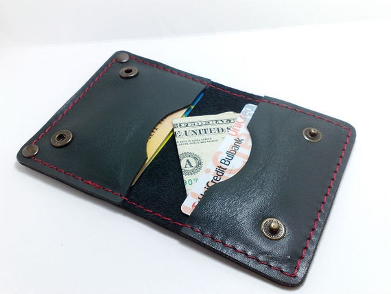 Handcrafted black and dark green cowhide leather cardholder/ wallet /case/business cards/ cash purse, free monogrammed, personalized, ooak