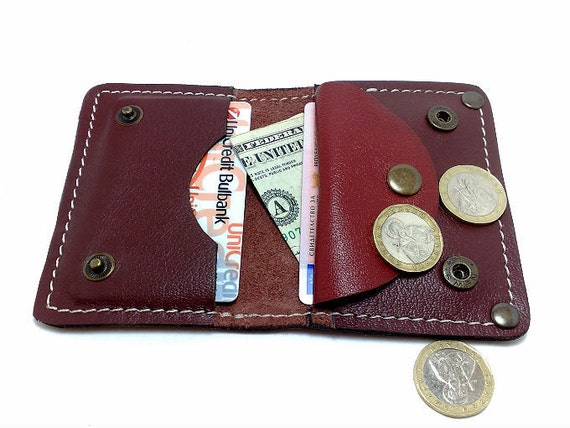 Wallet from brick cowhide leather handcrafted card holder/ wallet /case/ business cards/ cash with coin purse, free monogrammed, OOAK