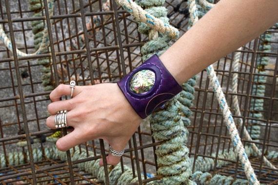 SALE 20% off Leather goddess cuff purple