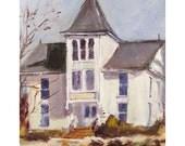 Historic First Presbyterian Chapel in Succasunna, NJ - Original Oil Painting