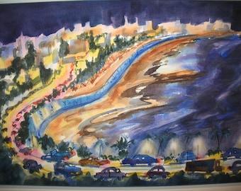 East to Lisbon - Night Scene - Original Watercolor - 13 x 20 inches