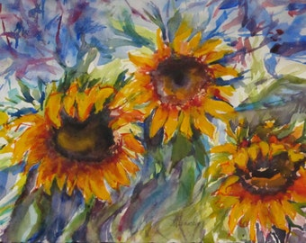 Sunflowers - Seeing Red on a Sunny Day in Early Fall - Original Watercolor