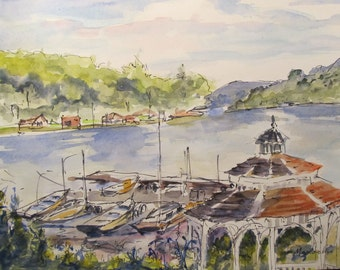 Lake Hopatcong NJ - Overlooking a Marina - original 9 inch by 12 inch ink and watercolor