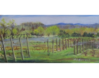 Old York Winery in Ringoes, NJ - Oil Painting in Early Spring