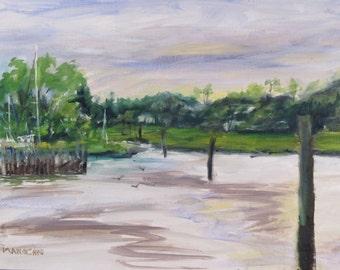 Keyport NJ Inlet as Viewed from Boardwalk - original oil painting
