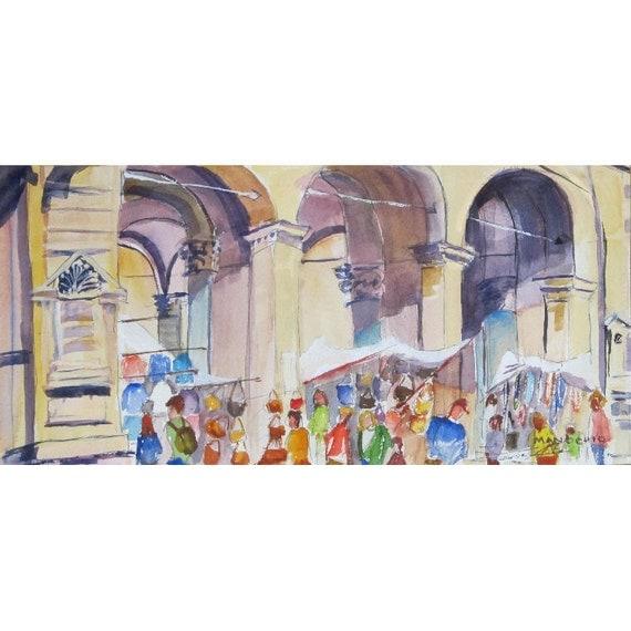 Piazza di Mercato Nuovo, Firenze, Italy - 14 x 7 Original Watercolor