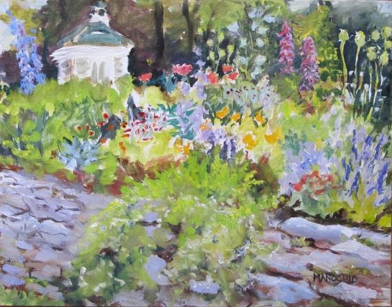 Well-Sweep Herb Farm in Port Murray, NJ - Oil Painting of Flower Garden