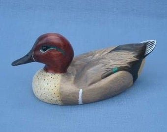 Hand carved Green Winged Teal Drake Decoy Duck carving