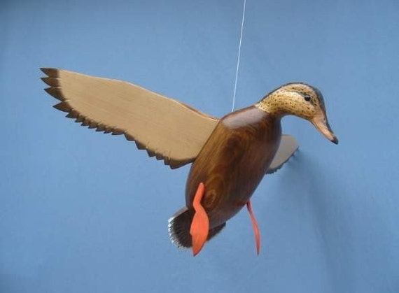 Hand carved Flying Mallard hen Decoy Duck carving
