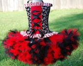 Black and red custom made pirate halloween costume size 12 months 18 mos 24 m 2T 3T 4T pettitutu and corset top
