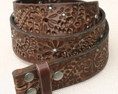 38 Inch Floral Rivet Perforated Brown Full Grain Leather Snap On Belt Strap