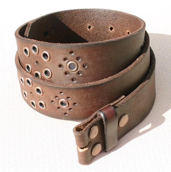30 Inch Oil Tanned Vintage Grommet Full Grain Brown Leather Snap On Belt Strap