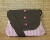 Pink and white striped sling bag with olive accents - Clearance sale