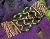 Handmade Hair Comb - Green and Gold - Swarovski - Venetian Style - Emerald City