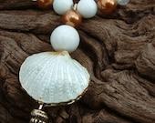 Handmade Bridal Necklace - Semi precious - Swarovski & Cloisonne Shell - White and Gold - Lysianassa's Trinkets