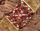 Handcrafted Hair Comb - Oriental - Red - Floral - Empress Wu