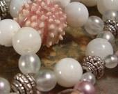 Handcrafted Hair Comb - Semi precious - Bridal - Beach Wedding - Little Pink Urchin