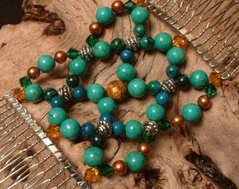 Handcrafted Hair Comb - Semi-precious - Turquoise and Gold - Lost treasure of Atlantis