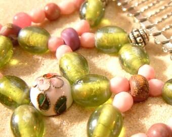 Handmade Hair Comb - Pink - Green - Plum - Lampwork - Floral - Semi-precious - Full of the Joys of Spring