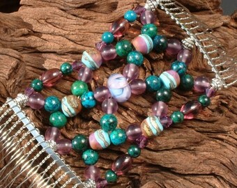 Handmade Hair Comb - Purple & Turquoise - Lampwork - Semi-precious - Look at me