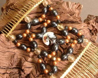 Vintage Beads - Handmade Hair Comb and Necklace - OOAK -  Oriental - Black and Gold - Geisha Girl