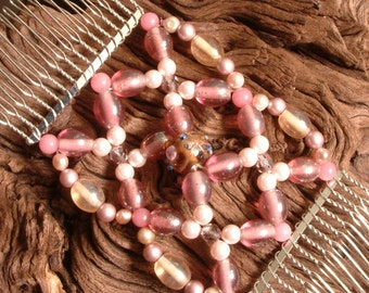 Hair Comb - Bridal - Wedding - Swarovski - Semi precious - Candy Floss Pink