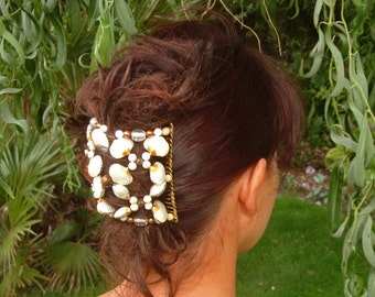 Exclusive Bridal Handcrafted Hair Comb - White and Gold - Semi precious - Cloisonne Shell - Lysianassa's Trinkets