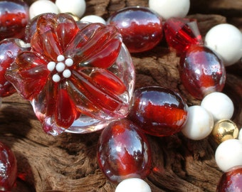 Handcrafted Hair Comb - Red and White - Semi Precious - Hibiscus Blush