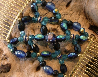 Exclusive Handmade Hair Comb - Czech Fire Glass Beads & Rhinestones - Midnight Blue