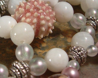 Handcrafted Hair Comb - Semi precious - Bridal - Beach Wedding - Little Pink Urchin