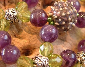 Handcrafted Hair comb - Semi Precious Gemstones - Amethyst and Peridot Green - Plum Urchin