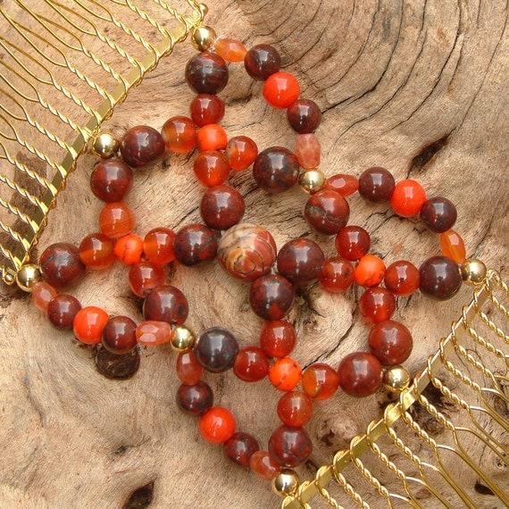 Exclusive Hair Comb - Vintage Beads - Semi Precious - Autumn - Dragon's Breath