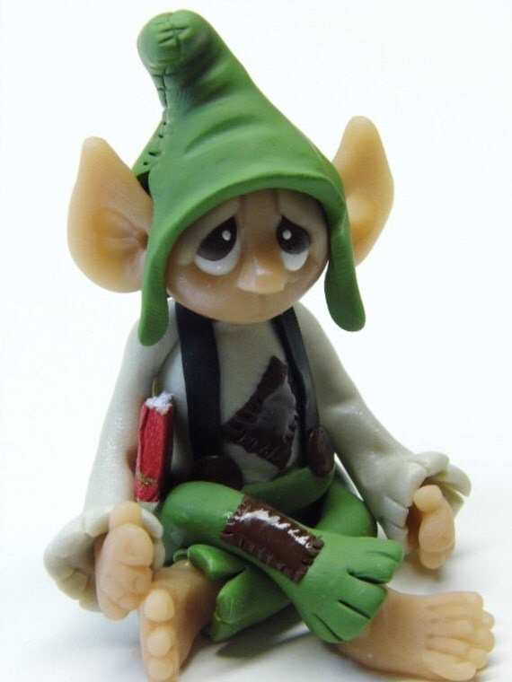 "OOAK Handmade Polymer Clay Woodland Elf Elfin ""Dilbert"" Fantasy Art Doll"