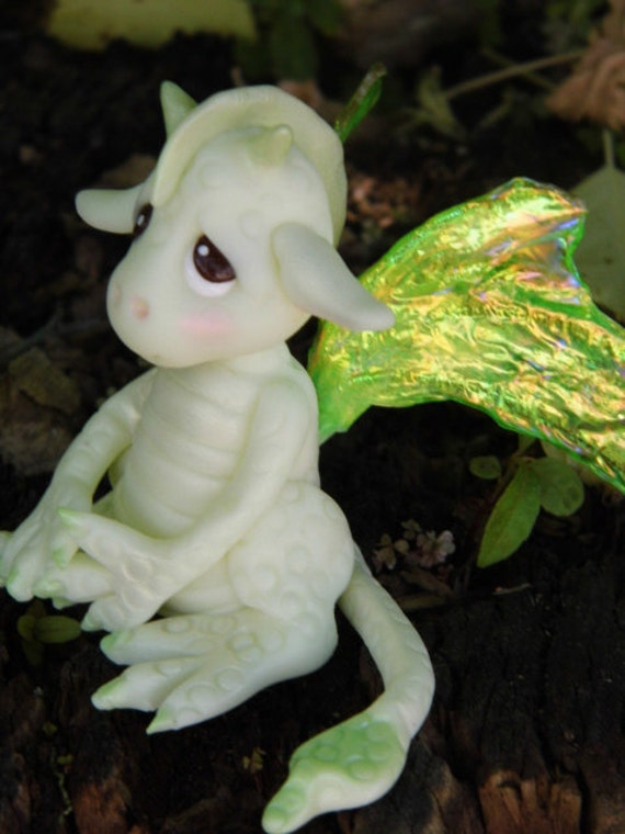 "OOAK Handmade Polymer Clay Glow In The Dark Baby Dragon"" Seraphina"" Fantasy Art Doll"