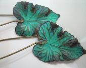 Palmira - Patina leaf earrings