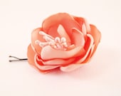 Flower barrette Peach Satin Bridal hair accessories OOAK by Jye, Hand-made in France