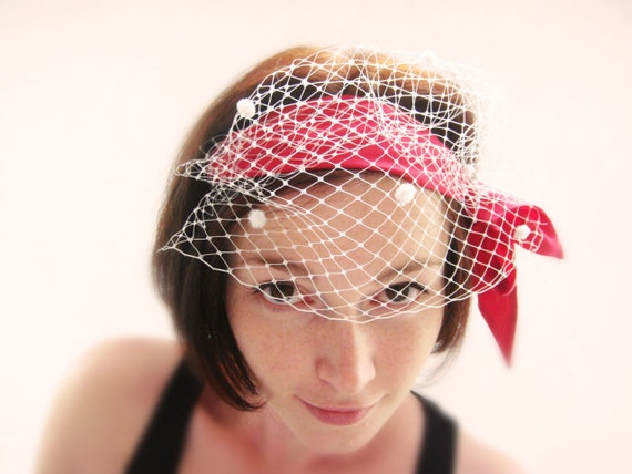 Red & white silk Birdcage headband OOAK by Jye, Hand-made in France
