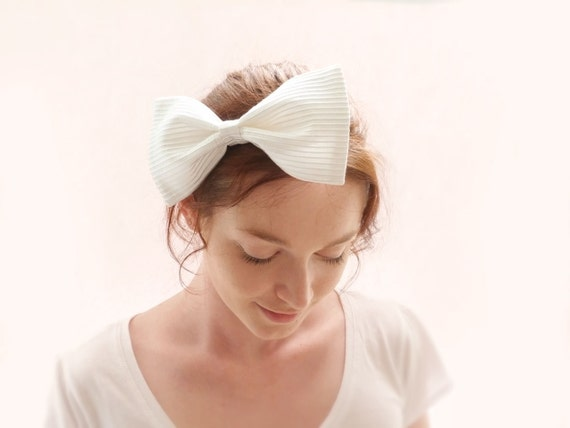 Bridal bow headband White striped silk OOAK by Jye, Hand-made in France