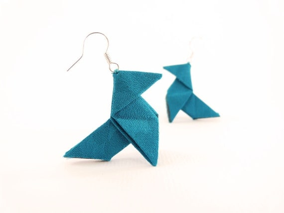 "Origami earrings Teal blue silk ""Cocotte"" OOAK by Jye, Hand-made in France"