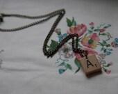 wooden Scrabble tile necklace