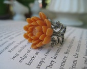Lotus Flower Ring in Butternut on Filigree Band-Free Shipping