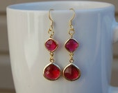 Gold, fuschia red and glass long drops