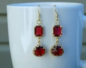 Gold, ruby red and glass long drops