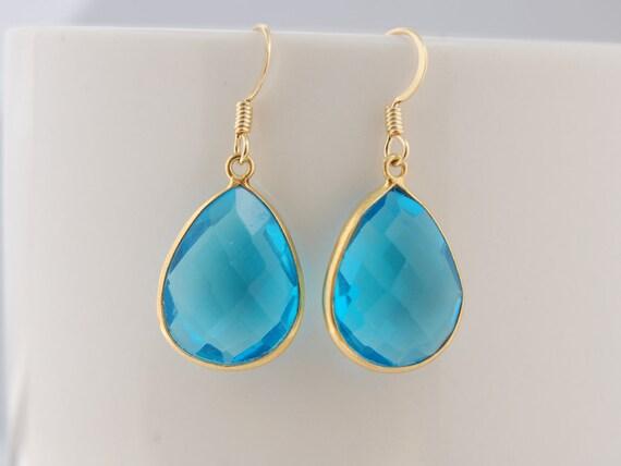 Blue topaz quartz teardrop 24k vermeil sterling silver bezel set earrings
