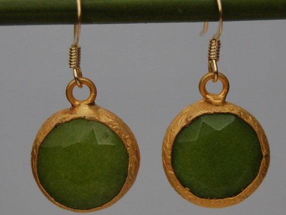 Turkish lime green jade bezel set 14k gold filled earrings