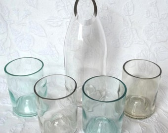 Recycled Clear Wine Bottle Carafe and Stemless Wine Glasses