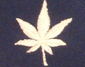 Navy shorts with weed logo