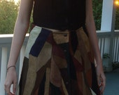 Patchwork suede skirt