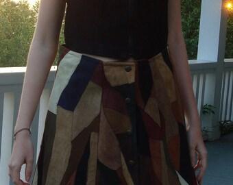 Patchwork suede skirt